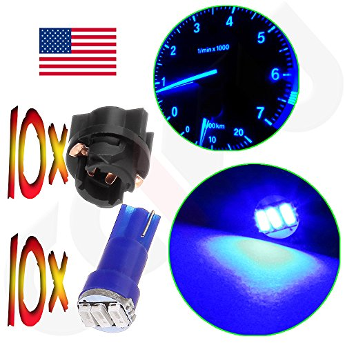 CCIYU (10) T5 Twist Socket Blue Dashboard Gauge 3-3014 SMD LED Wedge Lamp Bulbs Light T5 74 37 286 18 12v For 2004-2011 Chevrolet SSR Cavalier Equinox Corvette Cobalt Cavalier Avalanche 2500