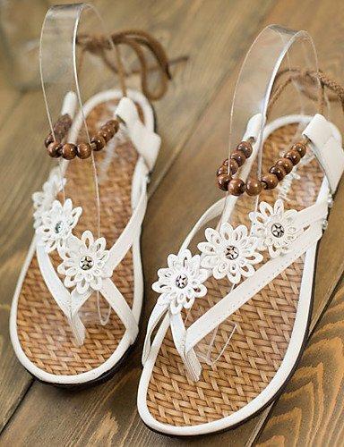 ShangYi Womens Shoes Flat Heel Flip Flops/Comfort Sandals Outdoor/Office & Career/Dress Black/Brown/White Brown