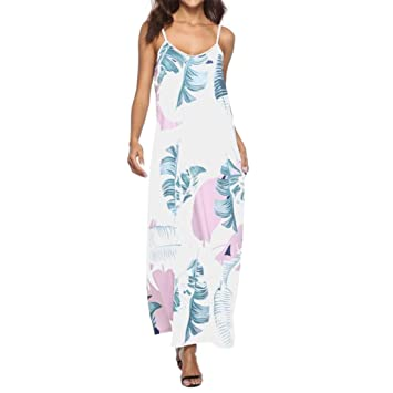Vestidos sin mangas para mujer, con correa de espagueti, estampado floral, verano,