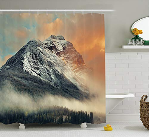 Ambesonne National Parks Home Decor Shower Curtain, Snowy Mountain at Sunset Hazy Weather Magical Yoho Alberta Print, Fabric Bathroom Decor Set with Hooks, 70 Inches, Grey Orange