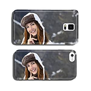 Woman warmly clothed thinking in winter cell phone cover case Samsung S6