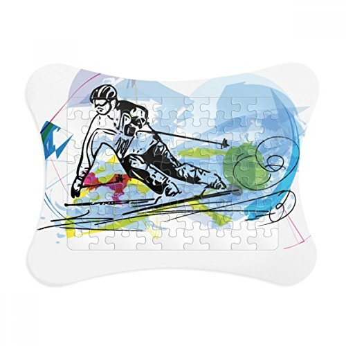 Winter Sport Skiing Athletes Freestyle Skiing Paper Card Puzzle Frame Jigsaw Game Home Decoration Gift
