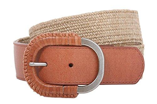 Raffia Woven Belt - MONIQUE Women Tan Semi-Covered Elastic Raffia Woven Genuine Leather 1.5'' Belt,Tan M/L:30