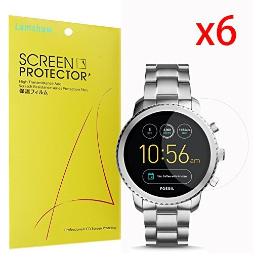 For Fossil Q Explorist Screen Protector,Lamshaw Premium High Definition Ultra Clear Anti-Glare Screen Protector for Gen 3 Smartwatch - Q EXPLORIST SMOKE (6 (Negative Face Watch)