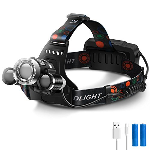 LED Headlamp USB Rechargeable Headlight with Rotatable Adjustable Head Super Bright Waterproof Zoomable Flashlight 4 Modes Hands free Lantern for Camping Fishing Hiking