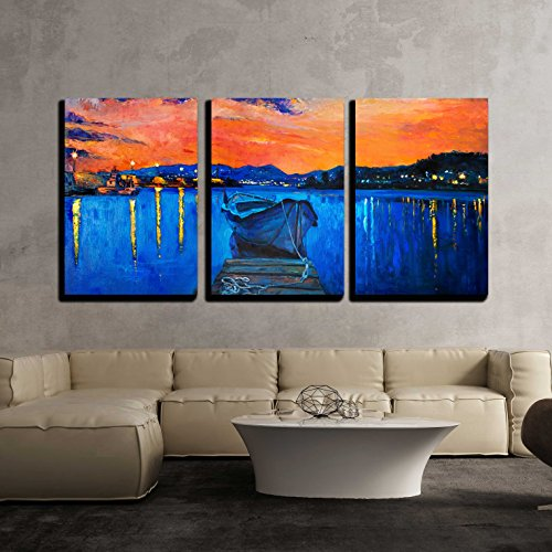 vas Wall Art - Original Oil Painting of Boat and Jetty(Pier) on Canvas.Rich Golden Sunset over Ocean - Modern Home Decor Stretched and Framed Ready to Hang - 24