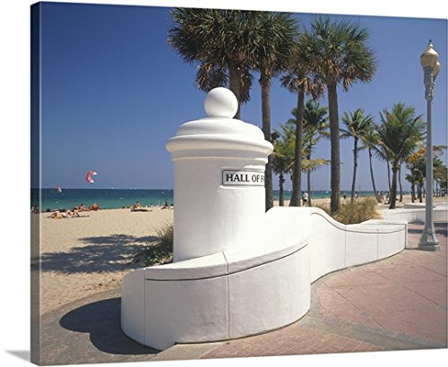 Canvas On Demand Premium Thick-Wrap Canvas Wall Art Print entitled Beach at Las Olas Boulevard W., Ft Lauderdale - Fort Lauderdale Las Olas