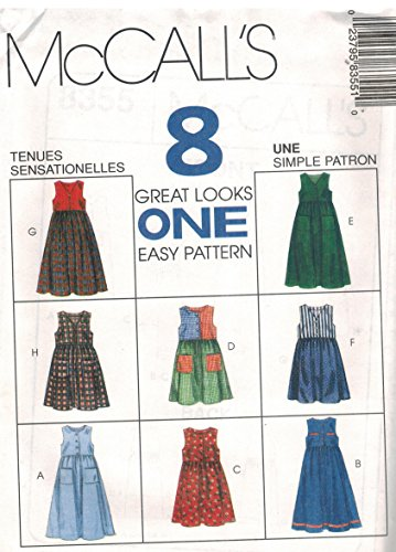 Childs Girls Jumper Sewing Pattern 2 Lengths Front Button or Zipper Empire Bodice Neck Variations McCall 8355 Eight Looks (7-8-10)