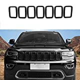 jeep grand cherokee grille guard - Front Grille Rings Grill Inserts Cover For 2017-2019 Jeep Grand Cherokee Black Grill Frame Trim Kit 7pcs (Black)