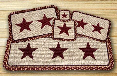 Earth Rugs Burgundy Design Square Wicker Weave Trivet, 9 by 9'