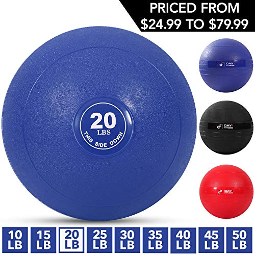 Weighted Slam Ball by Day 1 Fitness - 20 lbs NAVY - No Bounce Medicine Ball - Gym Equipment Accessories for High Intensity Exercise, Functional Strength Training, Cardio, CrossFit
