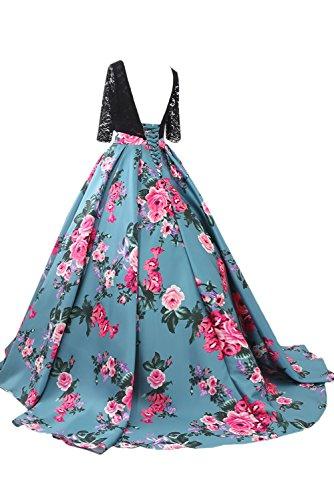 Lang Dunkelgruen Abendkleider Arm Promkleider Damen Spitzenkleider Hochwertig Blumen Ivydressing YSR4q