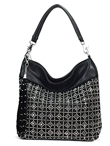 Zzfab Coin Circle Sparkle Hobo Bag with Tassel Black (Circle Hobo Bag)