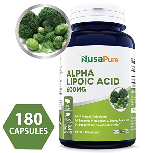 Alpha Lipoic Acid 600mg 180 Capsules (Non-GMO & Gluten Free) - Pure ALA Capsules - Ideal Formulas Supplement for Healthy Weight Management, Athletic Performance - 100% Money Back Guarantee! (600 Mg 180 Capsules)