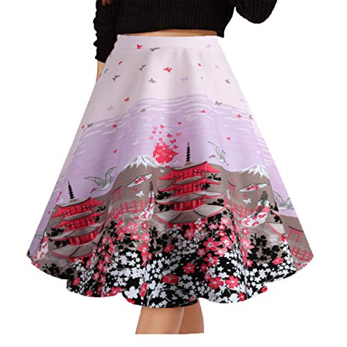 Musever Women's Pleated Vintage Skirts Floral Print Casual Midi Skirt Pink Flower XXL