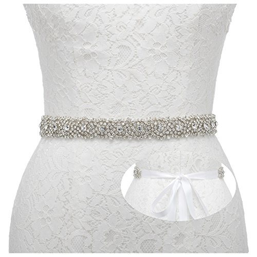 Remedios Rhinestone Bridal Belt Bridesmaid Sash Crystal Wedding Belt Women Dress Accessories,White