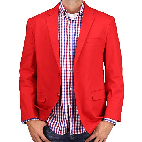 (Mens Casual Blazer Sport Coat Jacket (Red, 38)