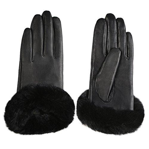 GSG Womens Hi-tech Touchscreen Italian Nappa Leather Driving Gloves Ladies Genuine Rex Rabbit Fur Gloves M Black-HI by GSG (Image #3)