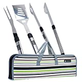 Figtree-Chef Long BBQ Tools - Grill Accessories Set Includes Spatula Fork and Tongs with Case