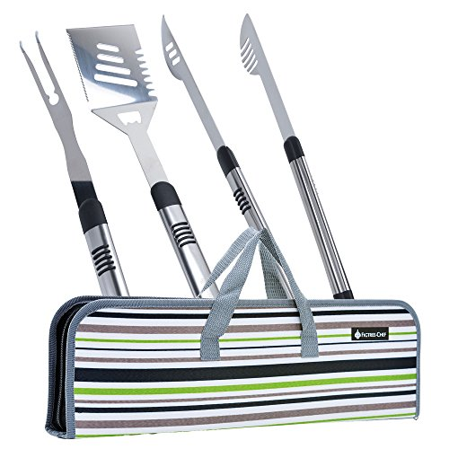 (Figtree-Chef Long BBQ Tools - Grill Set with Case - Includes Spatula, Fork and Tongs - Great Gift Idea)