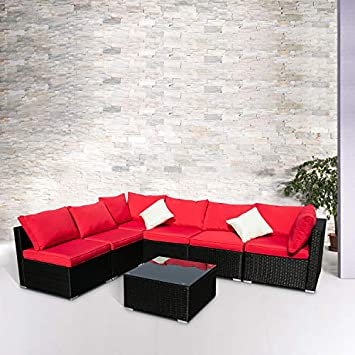 Wonlink Patio Sofa Rattan Garden Sectional,Wicker Patio Conversation Furniture Sectional,Red 7 PCS