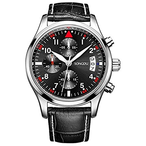 SONGDU Mens Date Military Multifunction Chronograph Watches Luminous Numeral (black dial with white numbers leather - Chronograph White Dial