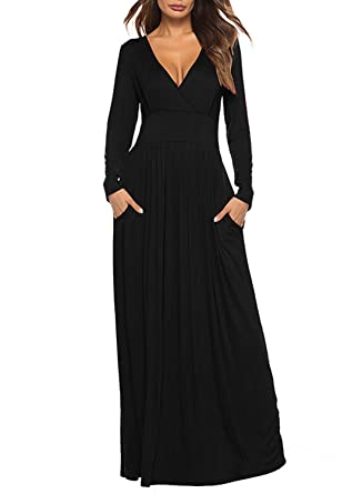 579d08f5009a3d REMASIKO Women's Long Sleeve V-Neck Wrap Waist Maxi Dress with Pocket Black  Medium