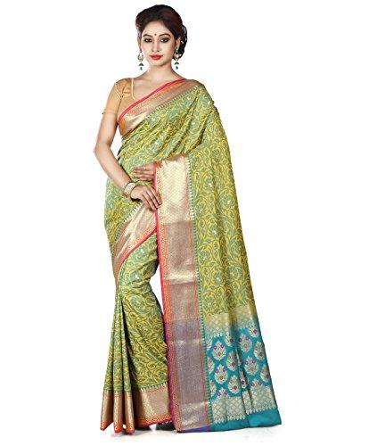 Maahir Garments Exclusive Indian Ethnicwear Mustard Coloured Banarasi Silk Uppada Saree by Maahir Garments