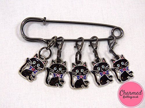 Lucky Black Cats - Crochet Stitch Markers - Enamel set of 5 - perfect gift or stocking filler for those who love (Charm Knitting Markers)