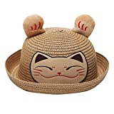 Wesracia Baby Girls Cute Hat Sun Protection,Breathable Soft Straw Hats Cartoon Kitty Hat with Ears 6~24 Months Old (Khaki)