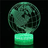 Bbdeng 3D Night Light Touch LED7 Change Color Bedroom Decoration Children's Gifts Illusion Lamps Lighting Xmas Gift Kids Night Earth Modeling