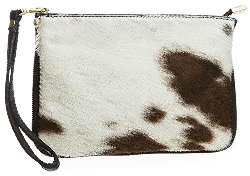 (Big Handbag Shop Small Genuine Leather with Calf Fur Zip Clutch Shoulder Bag (Pony - Design 2))