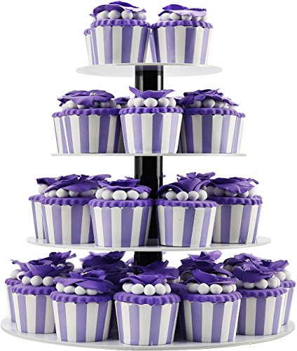 DYCacrlic 4 Tier White Birthday Cupcake Stand Holder - Tiered Plastic Cupcake Display Tree For Babby Family Friends 1st Birthday Cake Stand Acrylic,Unique Wedding Cupcake Tower,Tier Server