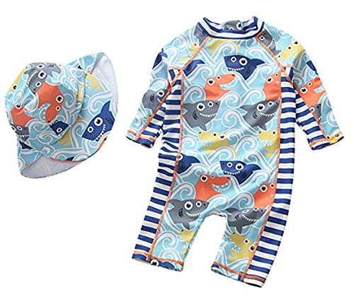 Toddler Baby Boys Girls 3D Cartoon Fish Rash Guard One-Piece Swimsuit Long Sleeve Sun Protection Bathing Suit Size 24-36M (Ligh Blue) (Toddler Boy Long Sleeve Rash Guard Swimwear)