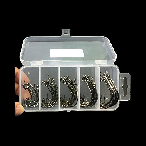 50 Pcs Extra Wide Gap Worm Hook High Carbon EWG Offset Fishing Hooks 2# 1# 1/0# 2/0# 3/0# With Tackle Box