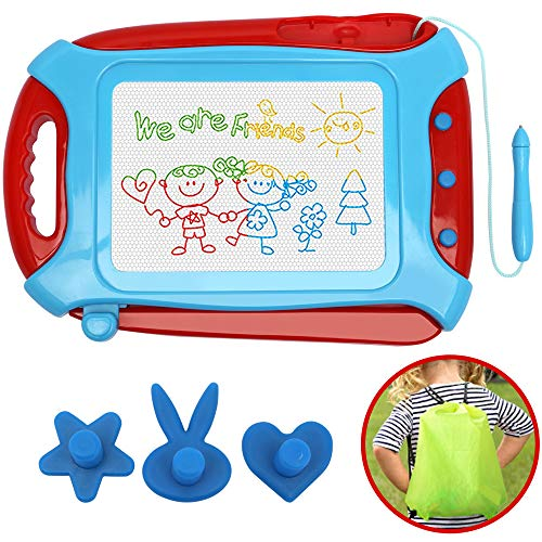 Wellchild Magnetic Drawing Board for Toddlers,Travel Size Toddlers Toys A Etch Toddler Sketch Colorful Erasable with One Carry Bag Magnet Pen and Three Stampers XB012