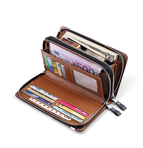Credito Rfid Protezione b Per Denaro Eccellente 21x12cm Uomini Porta Portafogli Carte In 8x5inch Di Genuino Blocco Pelle Viaggio rpqnrz