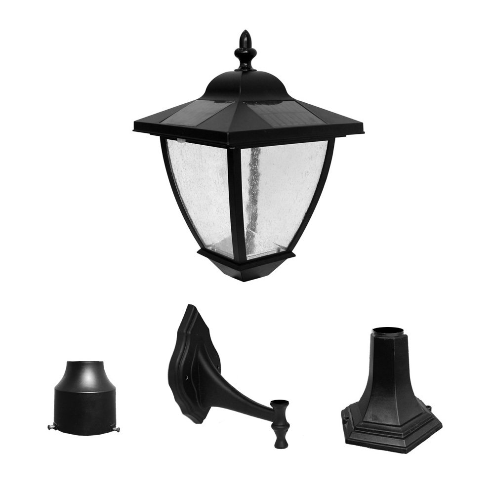 Nature Power 23206 16-Inch Bayport Solar Lamp with Super Bright Natural White LEDs and 3 Mounting Options, Black