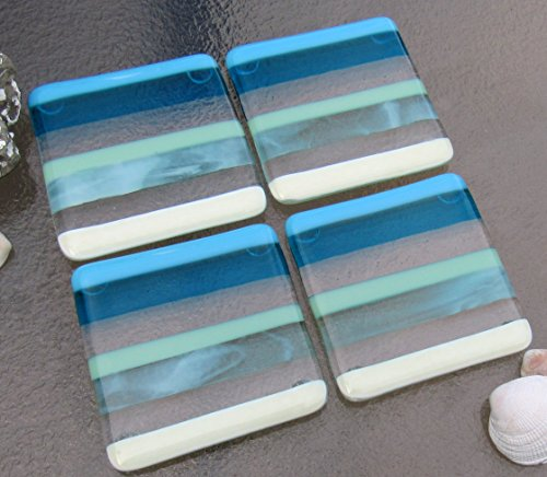 Fused Glass Coasters, Beach House Decor, Ocean Beach Coasters with Stripes in Blue, Turquoise, Mint, French Vanilla, and Aqua White, Summer Glass Coasters, Set of 4 Coasters