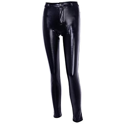 WEEKAN Womens Stitched Faux Leather Leggings Stretchy PU High Waist Skinny Tights Pants Elastic Black Slim Bodycon Trousers at Women's Clothing store