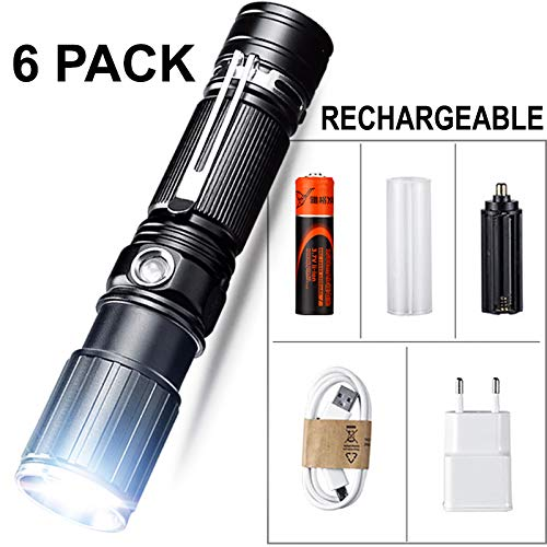 Super Bright Tactical Flashlight CREE LED Flashlight Zoomable Tactical Flashlight Rainproof Lighting Lamp Torch - with Rechargeable 18650 Battery - for Cycling Hiking Camping Emergency