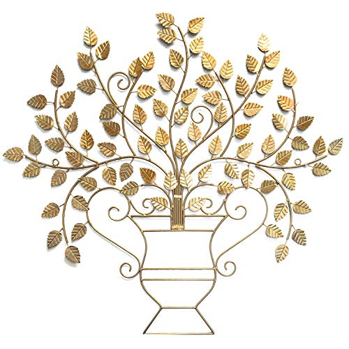 DecorShore Casablanca Golden Wall Sculpture - Vintage Mid Century Metal Wall Art Whimsical Houseplant Design -
