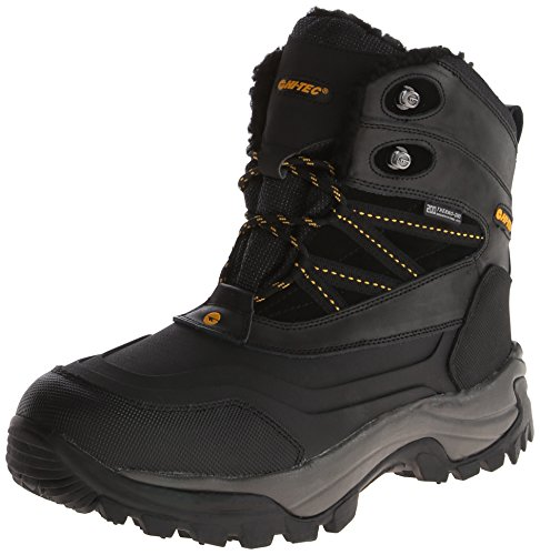 Hi-Tec Men's Snow Peak 200 Waterproof Insulated Waterproof Snow Boot,Black/Gold,10 M US