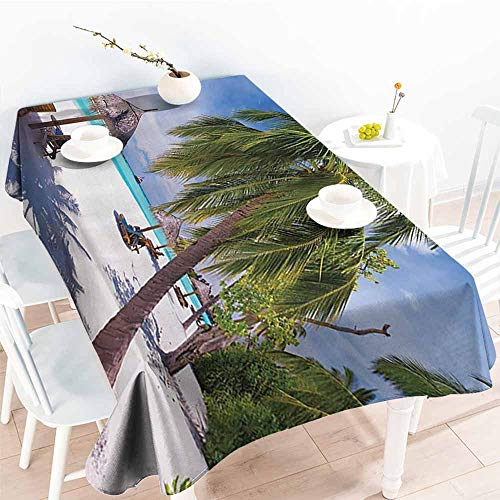 - Homrkey Stain-Resistant Tablecloth Coastal Decor Collection Tropical Island Lagoon Idyllic Deck Chairs Under Palm Trees Sunny Day Picture Green Blue Ivory Excellent Durability W70 xL84