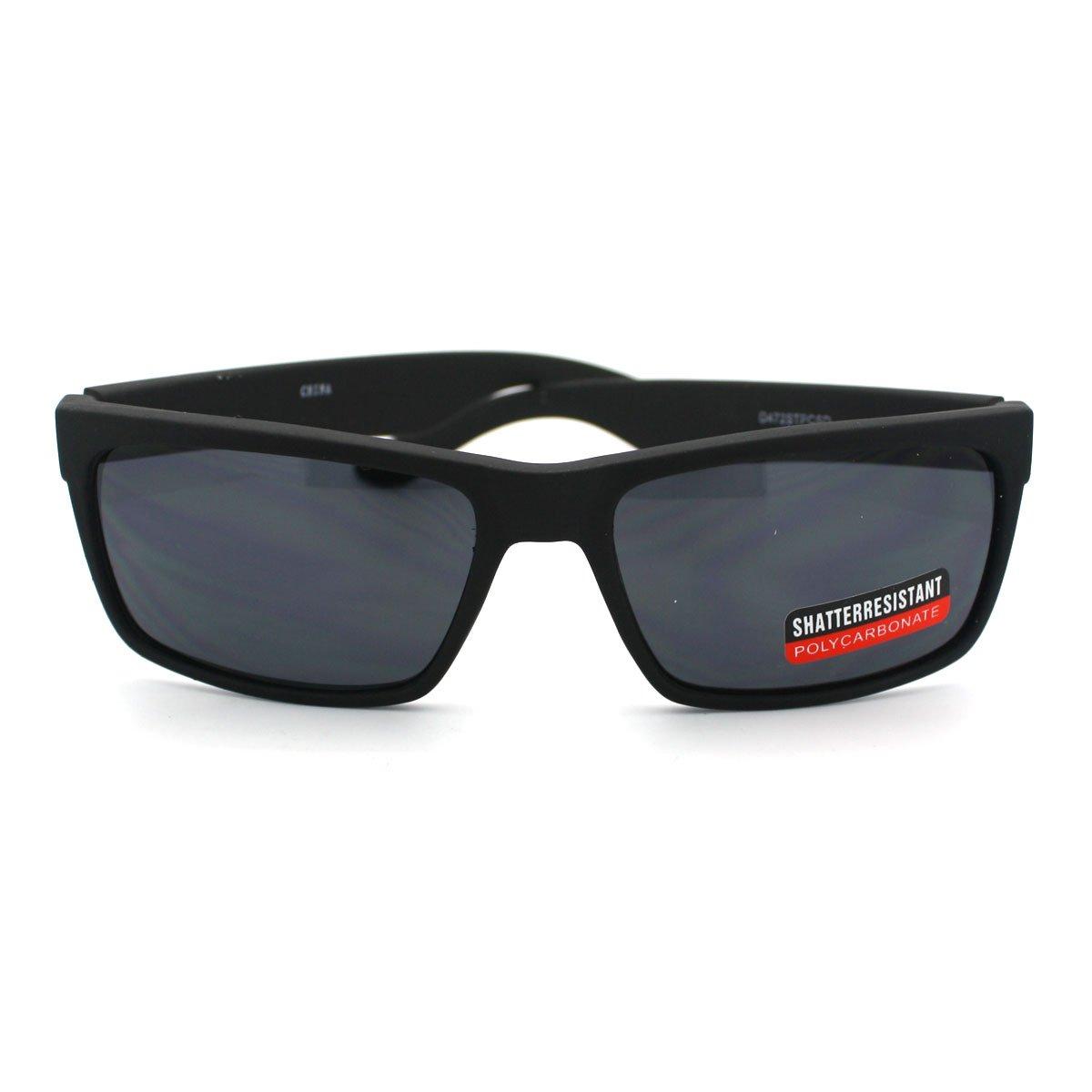 Soft Matte Finish Mens Narrow Rectangular Sporty Sunglasses