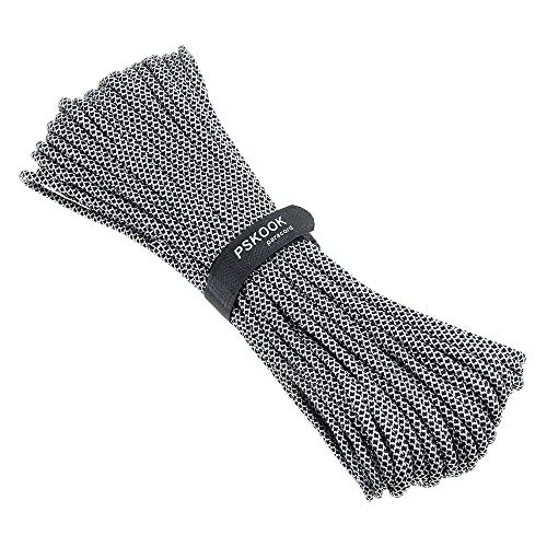 PSKOOK Survival Paracord Parachute Fire Cord Survival Ropes Red Tinder Cord PE Fishing Line Cotton Thread 7 Strands Outdoor 20, 25, 100 Feet (Black Diamond, 100) by PSKOOK (Image #3)