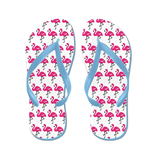 CafePress Flamingos Marching - Flip Flops, Funny Thong Sandals, Beach Sandals Caribbean Blue