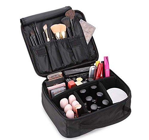 Bekith Black Portable Travel Makeup Bag / Cosmetic Organizer