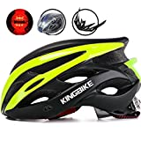 KINGBIKE Adult Bike Helmet Ultralight with Bicycle Helmets Rain Cover and Safety Rear Led Light Visor for Men Women Cycling Biking