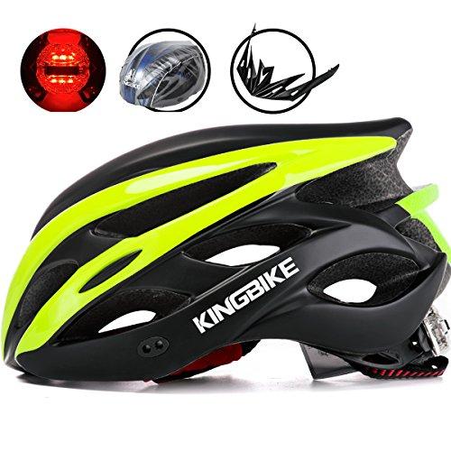 KINGBIKE Adult Bike Helmet Ultralight with Bicycle Helmets Rain Cover and Safety Rear Led Light Visor for Men Women Cycling Biking